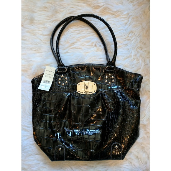 d6733c888d NWT U.S. Polo Assn Black Crocodile Pattern Purse